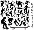 collection of skateboard vector - stock photo