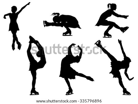 Collection of Skating Women Silhouettes. Vector Illustration - stock vector