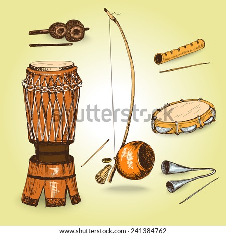 Collection of sketch musical instruments of capoeira. Hand drawn illustrations.  - stock vector