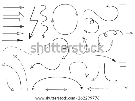 Collection of sketchy arrows - stock vector