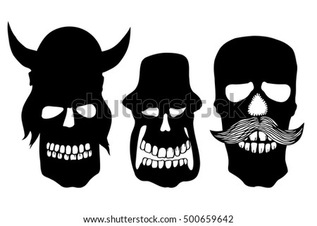 Collection of skulls isolated. vector illustration image