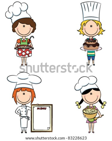 Collection of small chef girls isolated on white background - stock vector