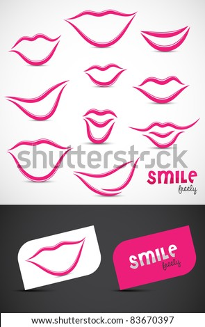 Collection of smile icon such logos, Vector EPS10. - stock vector