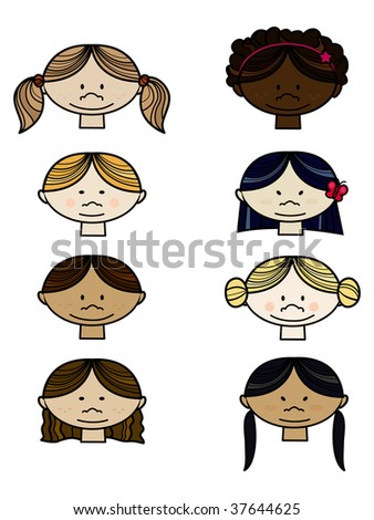 Collection of smiling faces of people from all over the world. Vector illlustration. - stock vector
