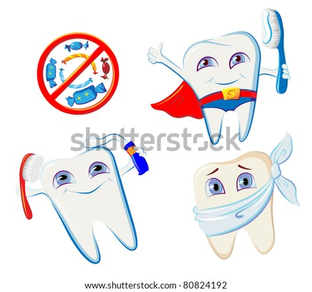 collection of smiling tooth hygiene accessories