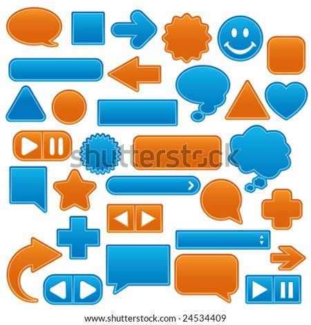 Collection of smooth, outlined web buttons and icons in tropical colors - stock vector