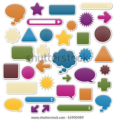 Collection of smooth web elements in jewel tones; perfect for adding your own icons. - stock vector