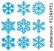 Collection of snowflakes (set of snowflakes) - stock vector