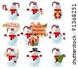Collection of snowman. Vector illustration. - stock vector