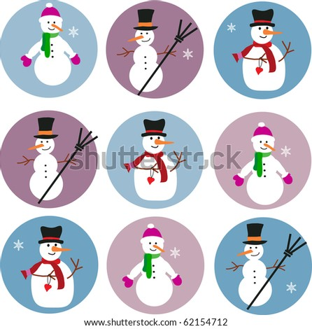 collection of snowmen on blue and purple background-1 - stock vector