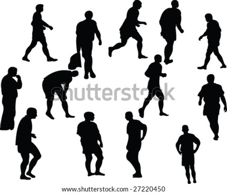 collection of soccer players silhouette - vector