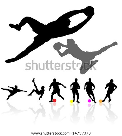 collection of soccer players vector - stock vector