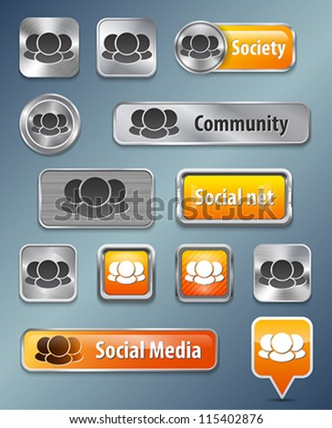 Collection of Social network metallic and glossy elements for web interface. Vector illustration - stock vector