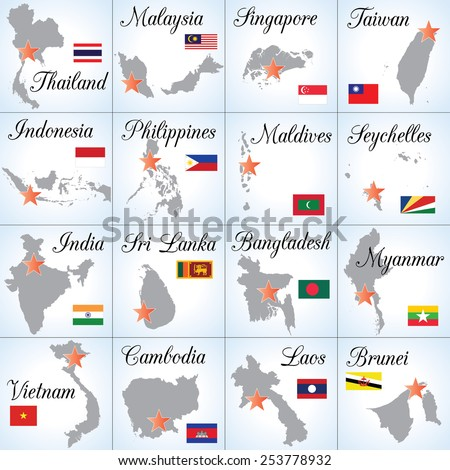 Collection of Southeast Asian countries. Sixteen separate illustrations (icons). Easy to edit. - stock vector