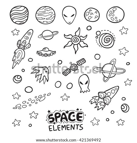 Collection of space elements. Cute doodle vector design.