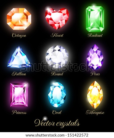 Collection of sparkling gems isolated on black background. Vector illustration EPS 10. RGB. Contains transparency and blending modes. - stock vector