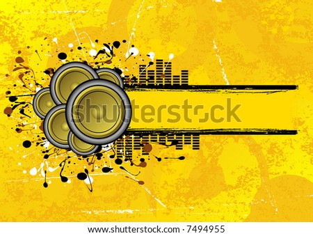 collection of speakers set on a grunge text banner - stock vector