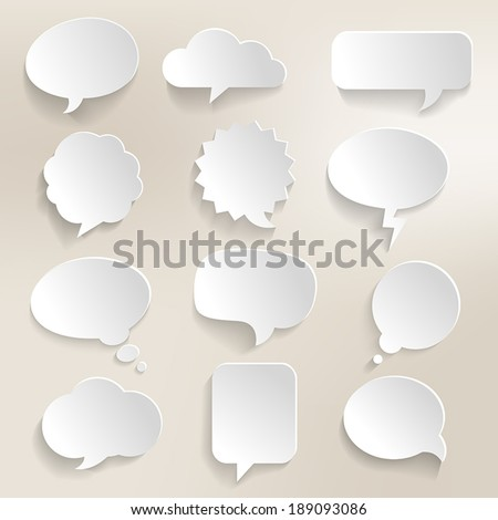 Collection of speech bubbles with a 3D effect. - stock vector