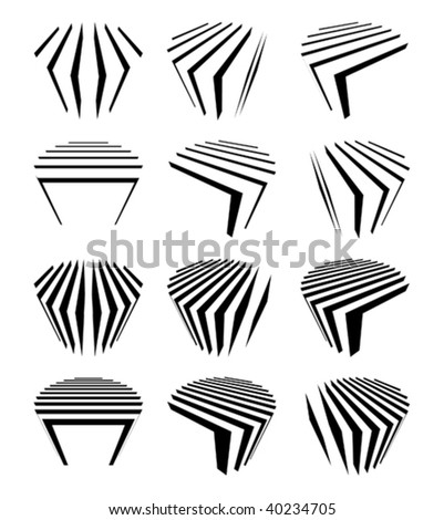 collection of split cylinders - stock vector