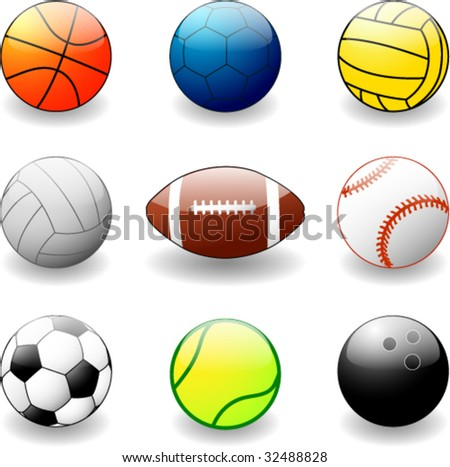collection of sport balls - vector illustration