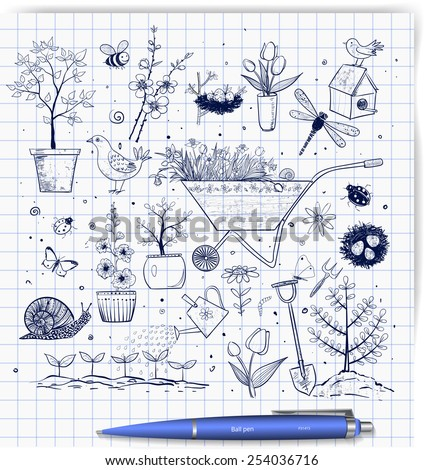 Collection of spring doodle pen sketch elements: flowers, gardener's tool, bugs, spring trees, bird's nests with eggs. - stock vector