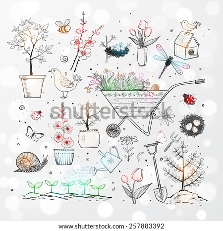 Collection of spring doodle sketch elements: flowers, gardener's tool, bugs, spring trees, bird's nests with eggs. - stock vector