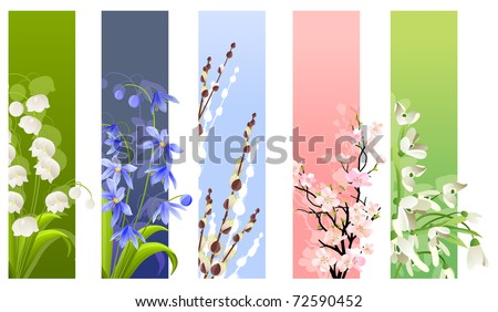 Collection of spring flowers isolated on white background - stock vector