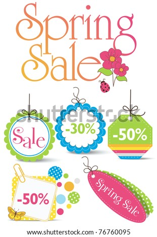 Collection of Spring Sales Icons - stock vector