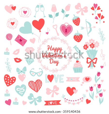 Collection of St. Valentine's Day design elements. Heart, wreath, champagne, rose, bow, ribbon, balloon, letter, lollipop, strawberry, arrow, branch, bouquet, garland, love, candles, glasses, diamonds - stock vector