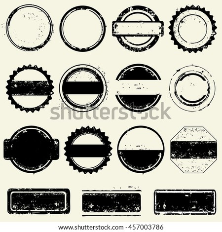 Collection of stamps frames - stock vector