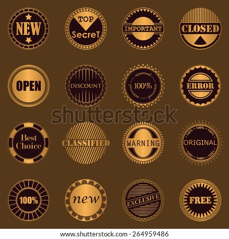 Collection of stamps. Set of labels. Luxury design     - stock vector