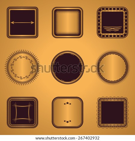 Collection of stamps. Set of templates for labels. Luxury design     - stock vector
