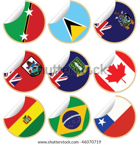 Collection of stickers/labels with country flags from North, Central and South America, set 3