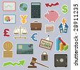 collection of stickers - money and finance - stock photo