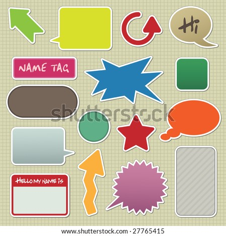 collection of stickers with arrows, speech bubbles and text boxes