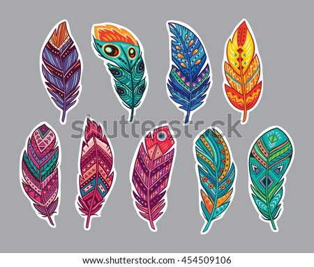 Collection of stickers with indian feathers. Vector illustration