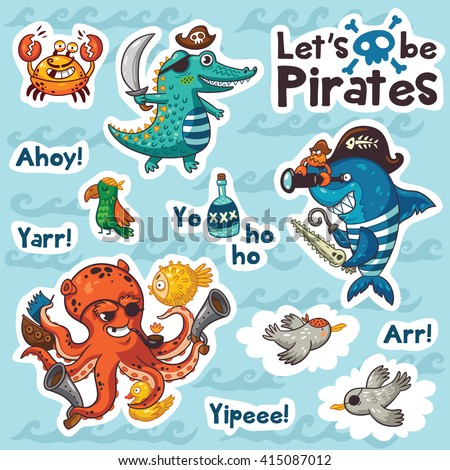 Collection of stickers with pirates in cartoon style. Cartoon underwater pirates set sticker with crocodile, octopus, shark, crab, seagulls, and a parrot. Vector illustration