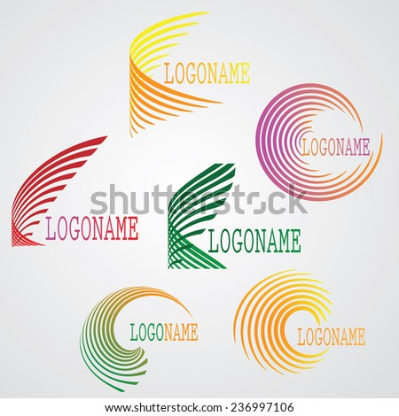 Collection of Stripes in Unusual Spiral and Circular Form. Logo Designs. Vector Illustration.  - stock vector