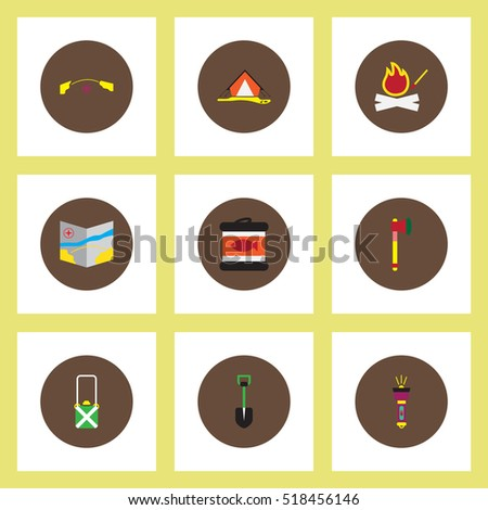 Collection of stylish vector icons in colorful circles Camping stuff