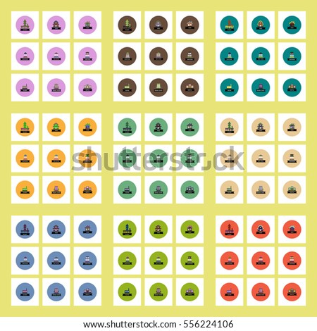 Collection of stylish vector icons in colorful circles different kinds of buildings