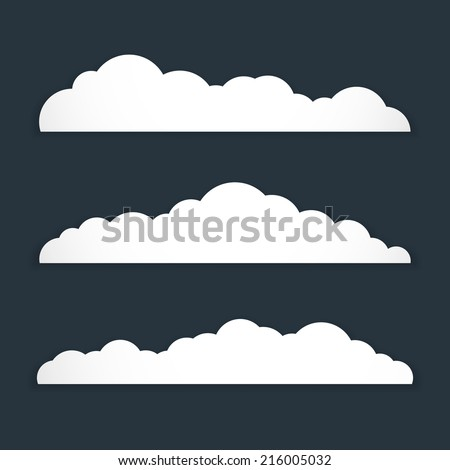 Collection of stylized fluffy cloud silhouettes. Isolated on gray background. Vector illustration, esp 10. - stock vector