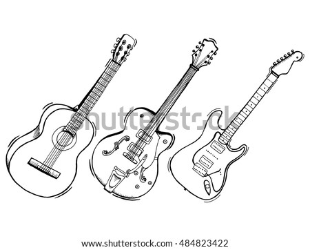 Collection Of Stylized Guitar Set Musical Instruments Electric Line Art