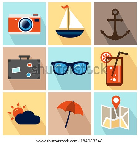 Collection of Summer Icons in Flat Design - stock vector