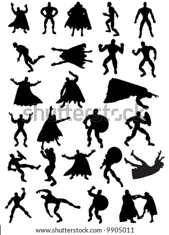 Collection of 25 Superhero Silhouettes - stock vector