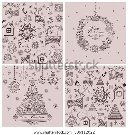 Collection of sweet decorative christmas backgrounds - stock vector
