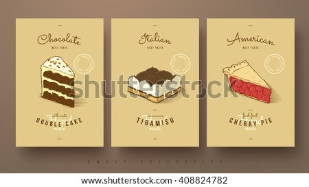 collection of sweets double cake, tiramisu and cherry pie, hand drawn