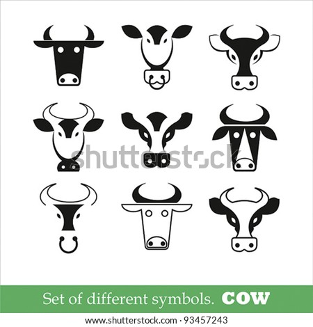collection of symbols cow. Vector illustration. set of icons - stock vector