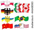 collection of symbols of countries - stock vector
