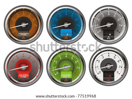 Collection of tachometers vector illustration EPS10 - stock vector