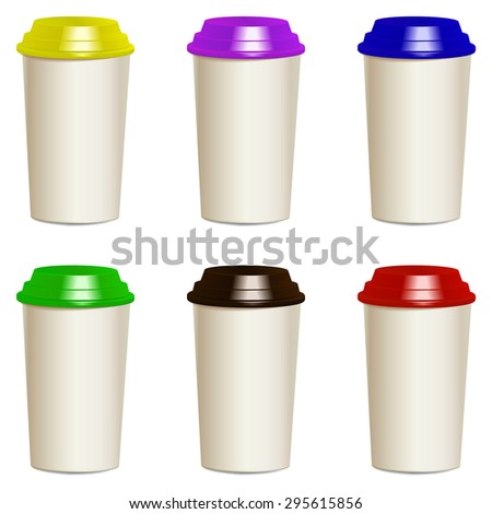 Collection of take away hot drink cups with different lids. Realistic objects templates, mock ups. Vector.